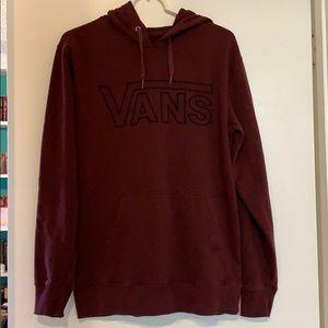 Vans Logo Hood Jacket Pullover Maroon